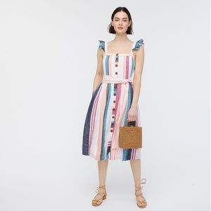 J. Crew Button-up Midi Dress in Mixed Stripe